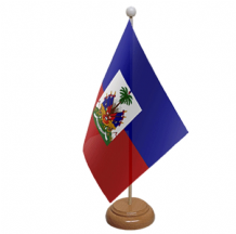 HAITI - TABLE FLAG WITH WOODEN BASE